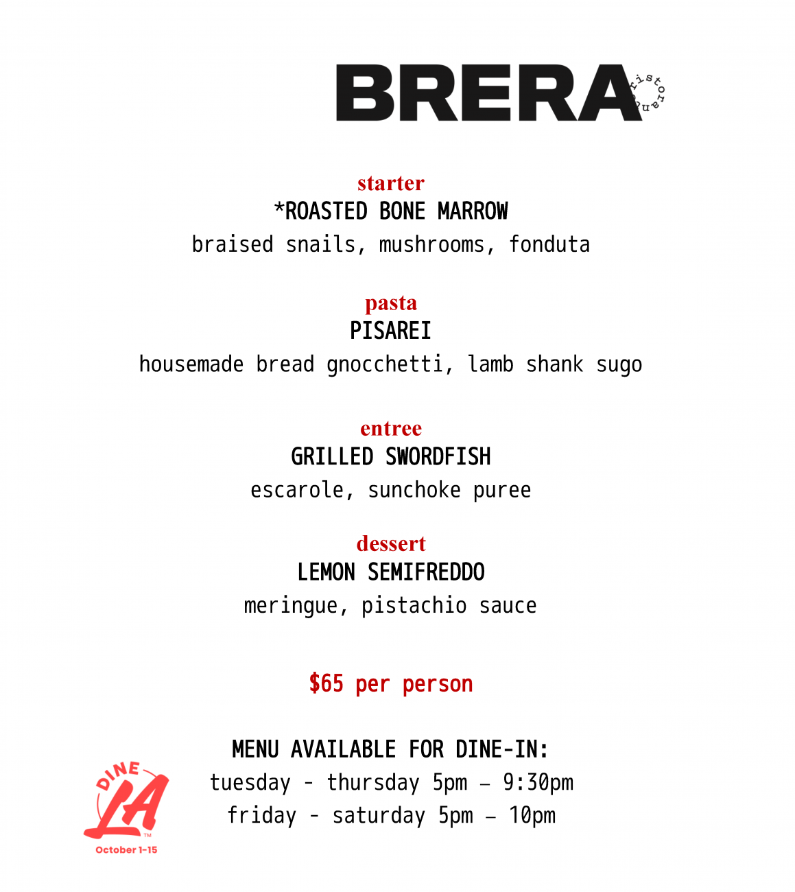 dineLA dinner (subject to change)