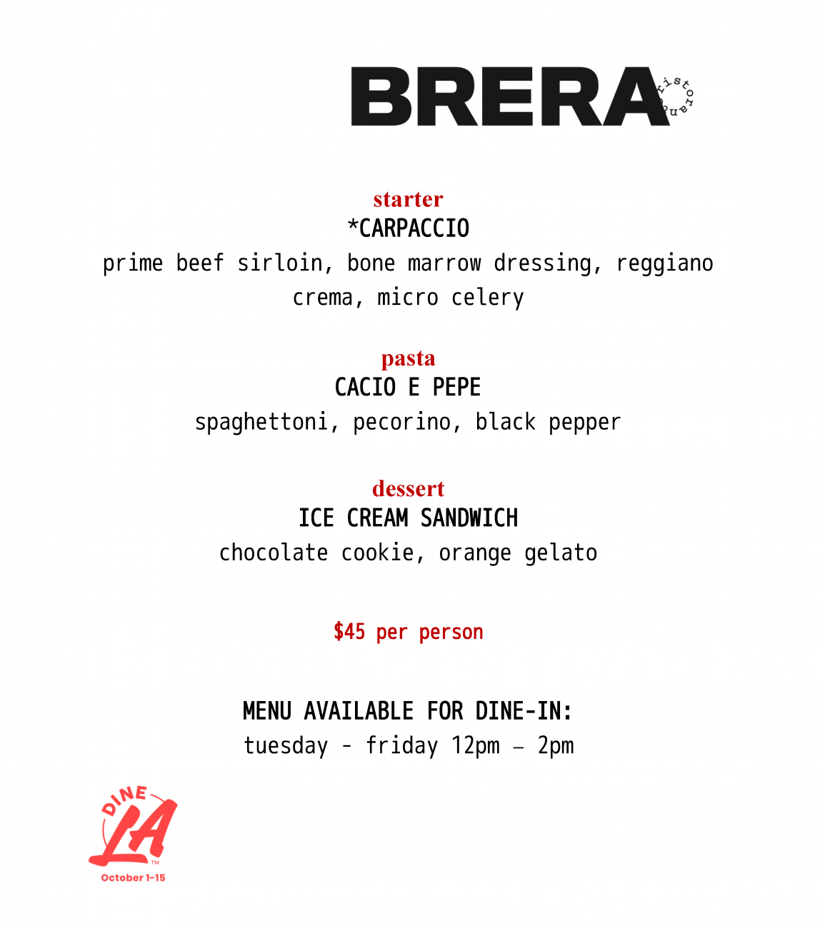 dineLA lunch (subject to change)